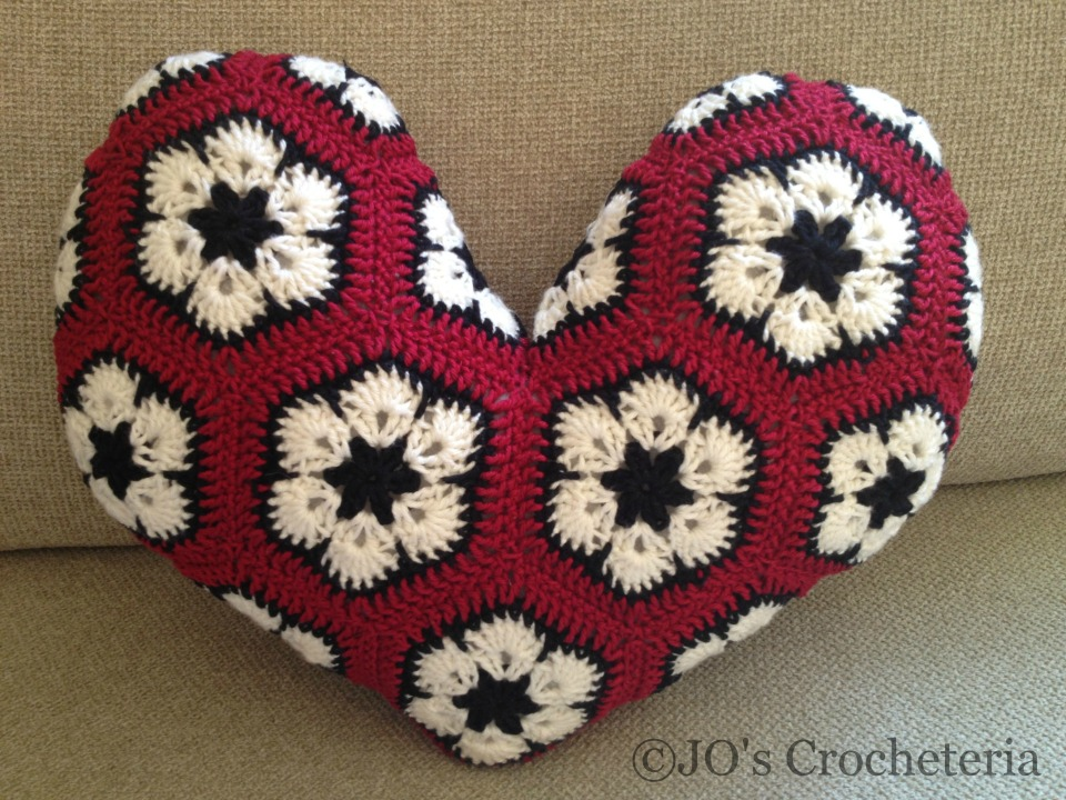 African Flower Heart Pillow Crochet Pattern 3 Jos Crocheteria