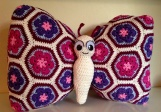 crochet african flower butterfly pillow