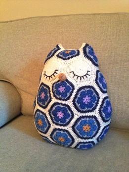 crochet african flower owl 1